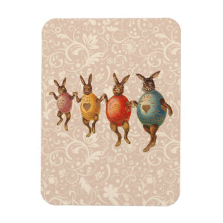Vintage Easter Bunnies Dancing with Egg Costumes Magnets