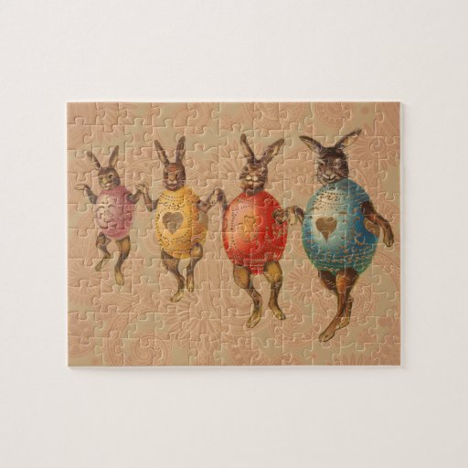 Vintage Easter Bunnies Dancing with Egg Costumes Puzzle