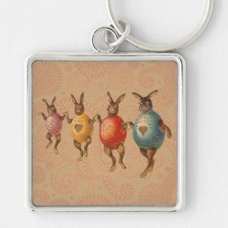 Vintage Easter Bunnies Dancing with Egg Costumes Silver-Colored Square Keychain