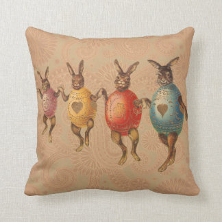 Vintage Easter Bunnies Dancing with Egg Costumes Throw Pillow