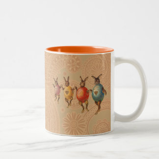 Vintage Easter Bunnies Dancing with Egg Costumes Two-Tone Coffee Mug