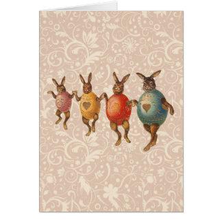 Vintage Easter Bunnies Dressed up Dancing Rabbits Card