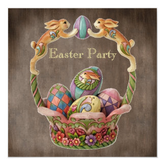 Vintage Easter Bunnies & Eggs Easter Party 5.25x5.25 Square Paper Invitation Card