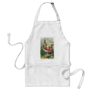 Vintage Easter Bunnies in a Boat with Easter Eggs Adult Apron