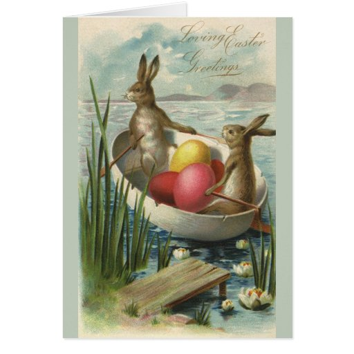 Vintage Easter Bunnies in a Boat with Easter Eggs Card