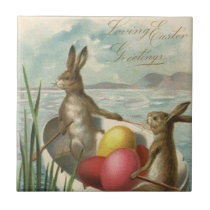 Vintage Easter Bunnies in a Boat with Easter Eggs Ceramic Tile