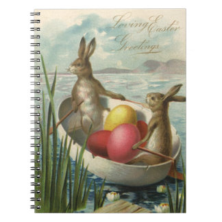 Vintage Easter Bunnies in a Boat with Easter Eggs Notebook