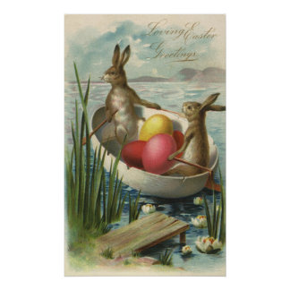 Vintage Easter Bunnies in a Boat with Easter Eggs Poster