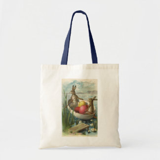 Vintage Easter Bunnies in a Boat with Easter Eggs Tote Bag