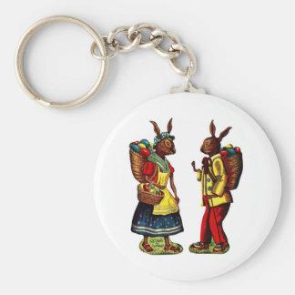 Vintage Easter Bunnies Basic Round Button Keychain