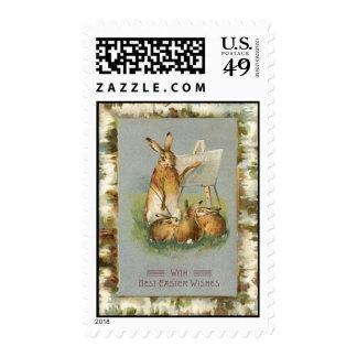Vintage Easter Bunnies Learning Easter Card Postage Stamp