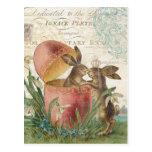 Vintage Easter Bunnies Notecard Postcard at Zazzle