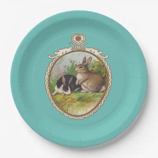 Vintage Easter Bunnies Paper Plate