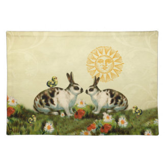 Vintage Easter Bunnies Cloth Placemat