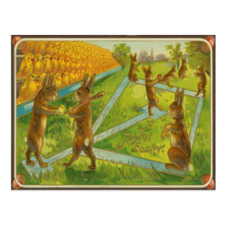Vintage Easter Bunnies Playing Baseball Chicks Postcard