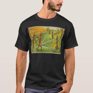 Vintage Easter Bunnies Playing Baseball Chicks T-Shirt