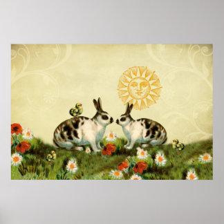 Vintage Easter Bunnies Print