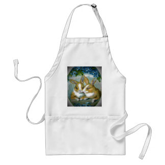 Vintage Easter Bunnies Textured Adult Apron