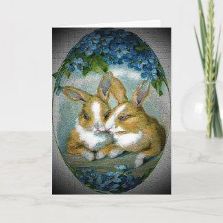 Vintage Easter Bunnies Textured Card card