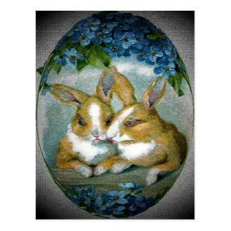 Vintage Easter Bunnies Textured Postcard