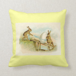 Vintage Easter Bunnies Throw Pillow