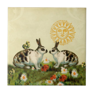 Vintage Easter Bunnies Small Square Tile