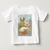 Vintage Easter Bunnies With Easter Egg Easter Card Baby T-Shirt