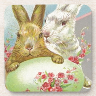 Vintage Easter Bunnies With Easter Egg Easter Card Drink Coaster