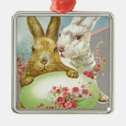 Vintage Easter Bunnies With Easter Egg Easter Card Metal Ornament