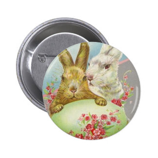 Vintage Easter Bunnies With Easter Egg Easter Card Pinback Button