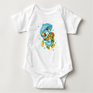 Vintage Easter Bunny and Chick. Baby Bodysuits