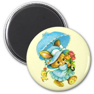 Vintage Easter Bunny and Chick. Gift Magnets