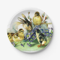 Vintage Easter Bunny and Chick Paper Plate