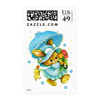 Vintage Easter Bunny and Chick. Postage Stamps