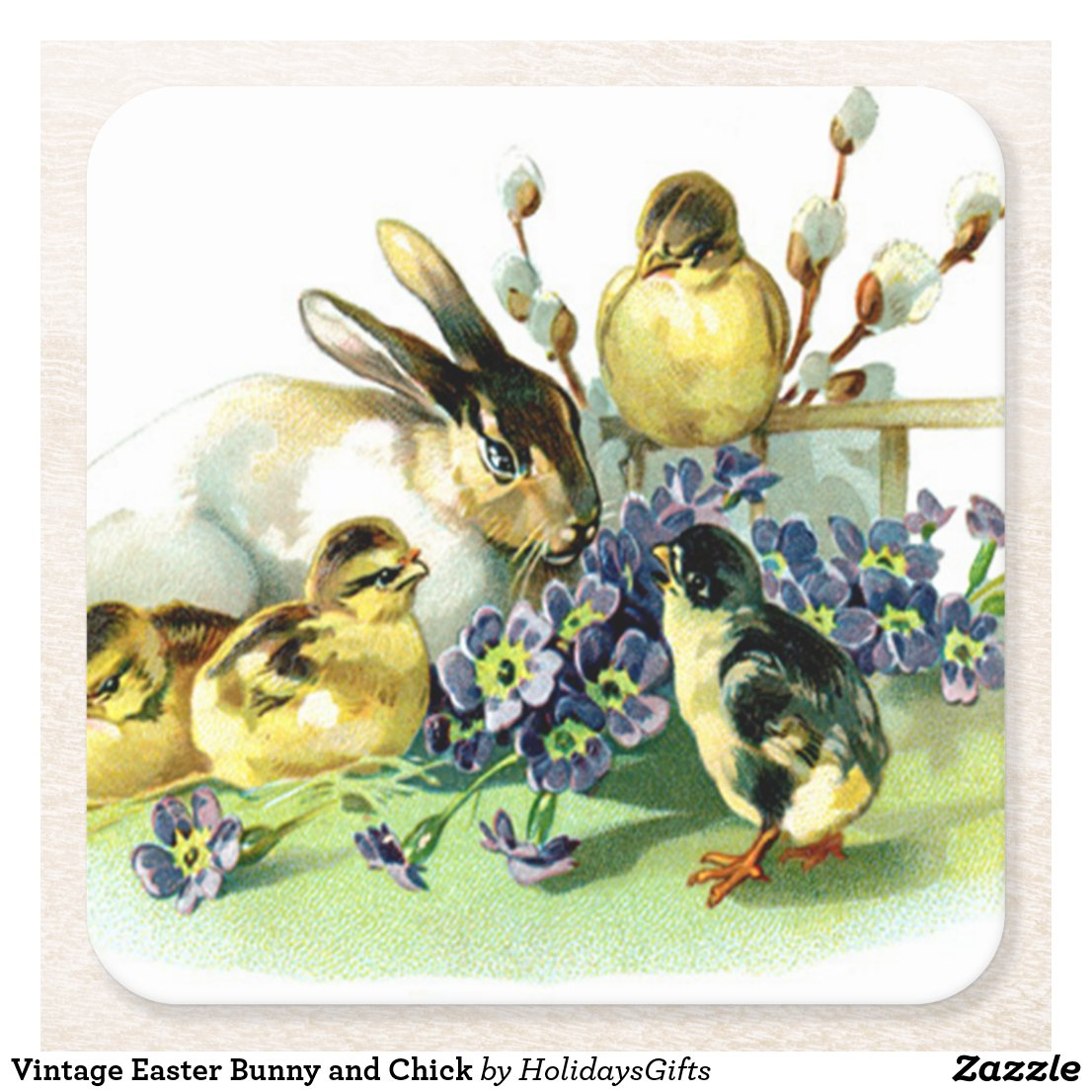 Vintage Easter Bunny and Chick Square Paper Coaster