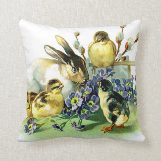 Vintage Easter Bunny and Chick Throw Pillow