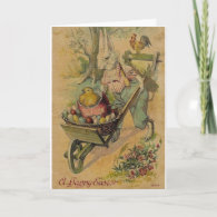 Vintage Easter Bunny And Egg Cart Easter Card