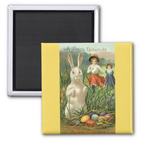 Vintage Easter Bunny and Eggs, Happy Eastertide 2 Inch Square Magnet