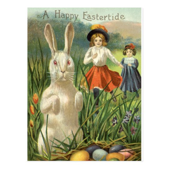 Vintage Easter Bunny and Eggs, Happy Eastertide Postcard