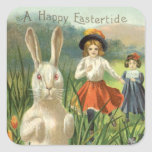 Vintage Easter Bunny and Eggs, Happy Eastertide Square Stickers