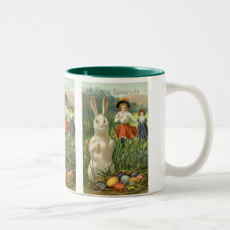 Vintage Easter Bunny and Eggs, Happy Eastertide Two-Tone Coffee Mug