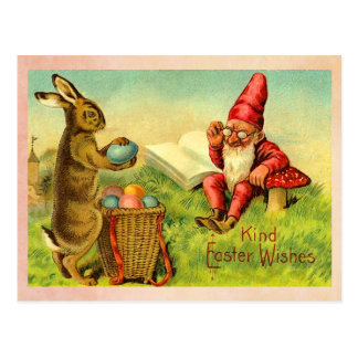 Vintage Easter Bunny and Gnome Postcard