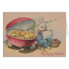 Vintage Easter Bunny And Hatched Eggs Easter Card