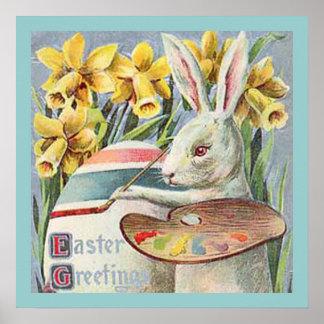 Vintage Easter Bunny Artist Poster