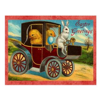 Vintage Easter Bunny Car Ride Postcard