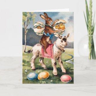 Vintage Easter Bunny Card card