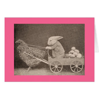 Vintage Easter Bunny Card For Childern Greeting Card