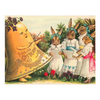 Vintage Easter Bunny Choir Postcard