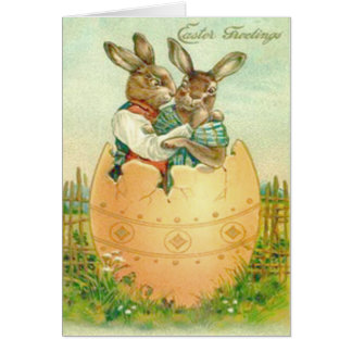 Vintage Easter Bunny Couple In Easter Egg Easter C Greeting Card