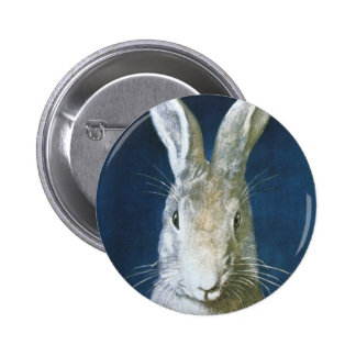 Vintage Easter Bunny, Cute Furry White Rabbit 2 Inch Round Button